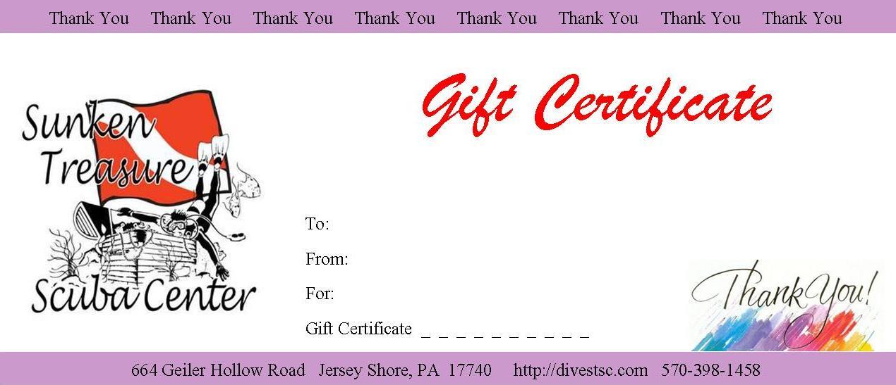 Gift Certificates — Sunken Treasure Scuba Center