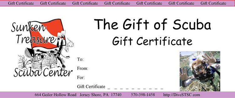 gift certificates sunken treasure scuba center