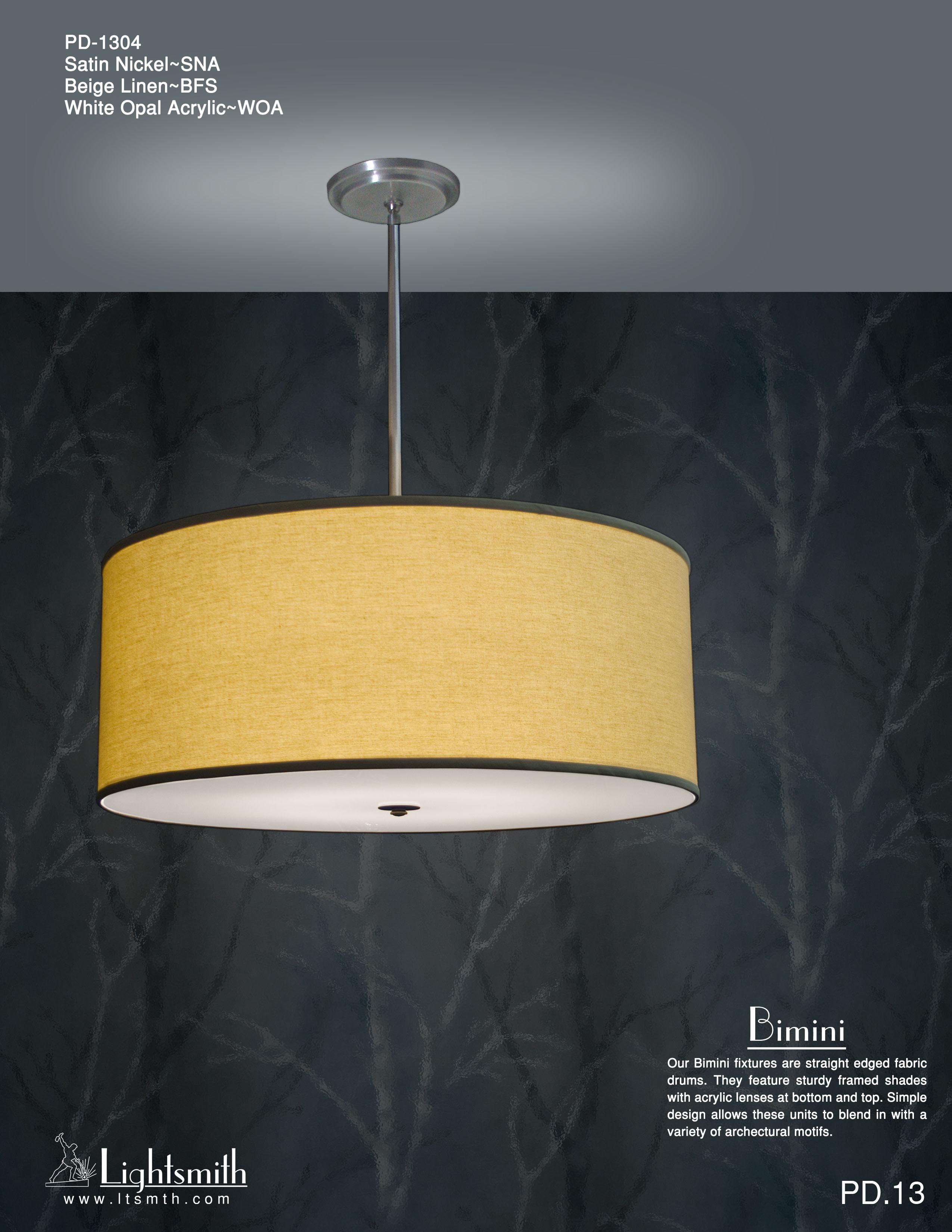Bimini Lightsmith Pd Simple 1304 Satin Nickel Beige Linen White Opal Acrylic