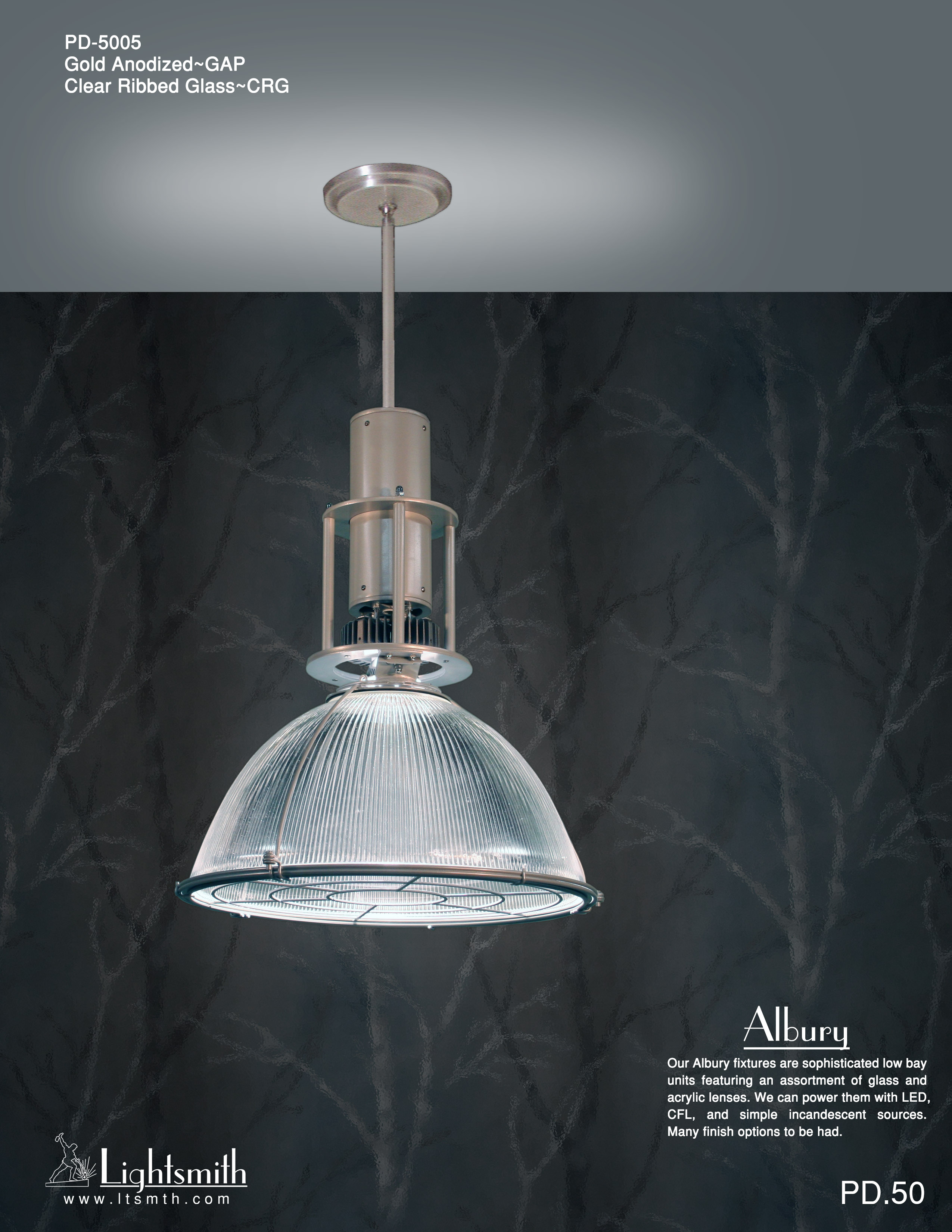 Albury Lightsmith Pd Simple 5005 Gold Anodized Clear Ribbed Shade