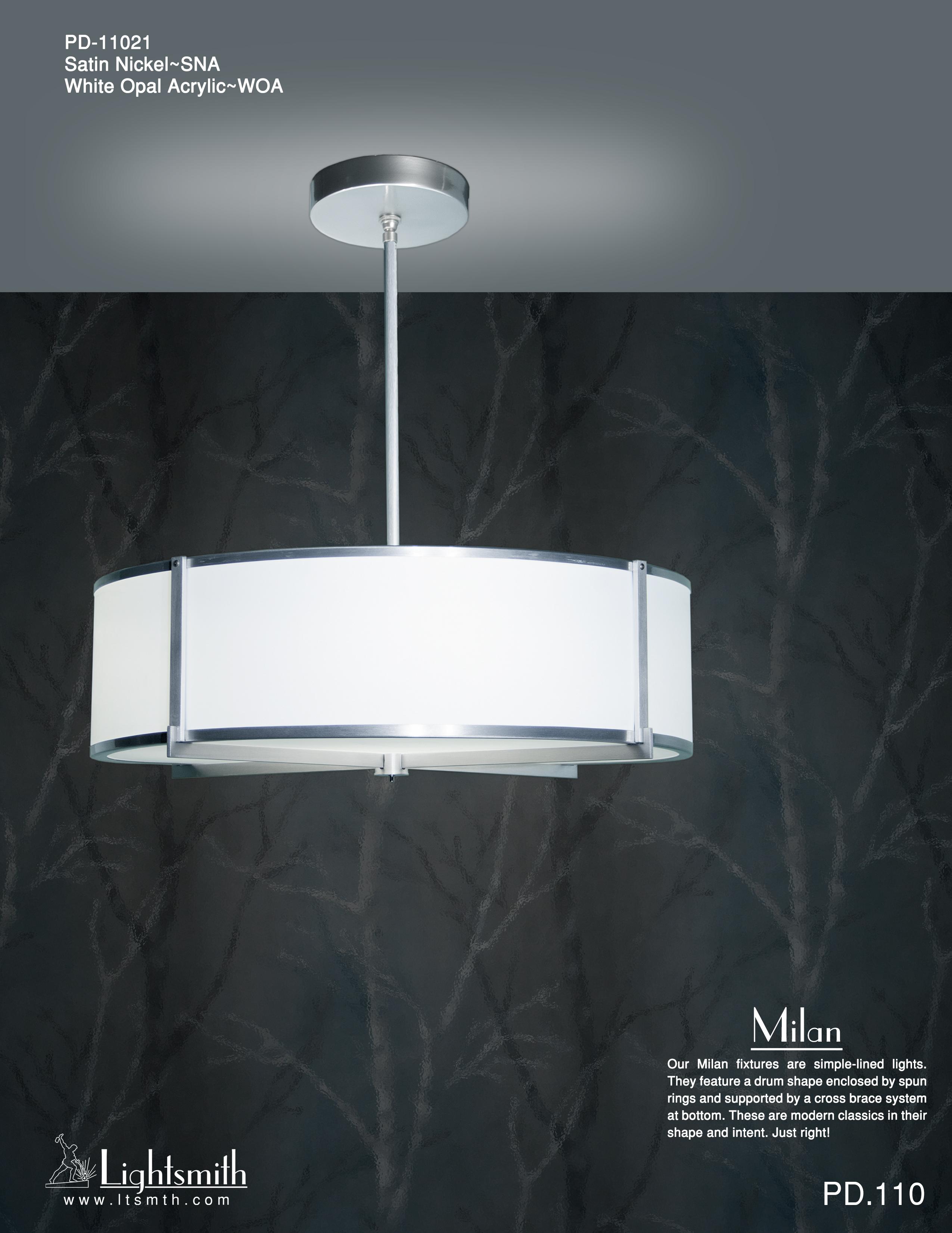 Milan Lightsmith Pd Simple 11021 Satin Nickel White Opal Acrylic