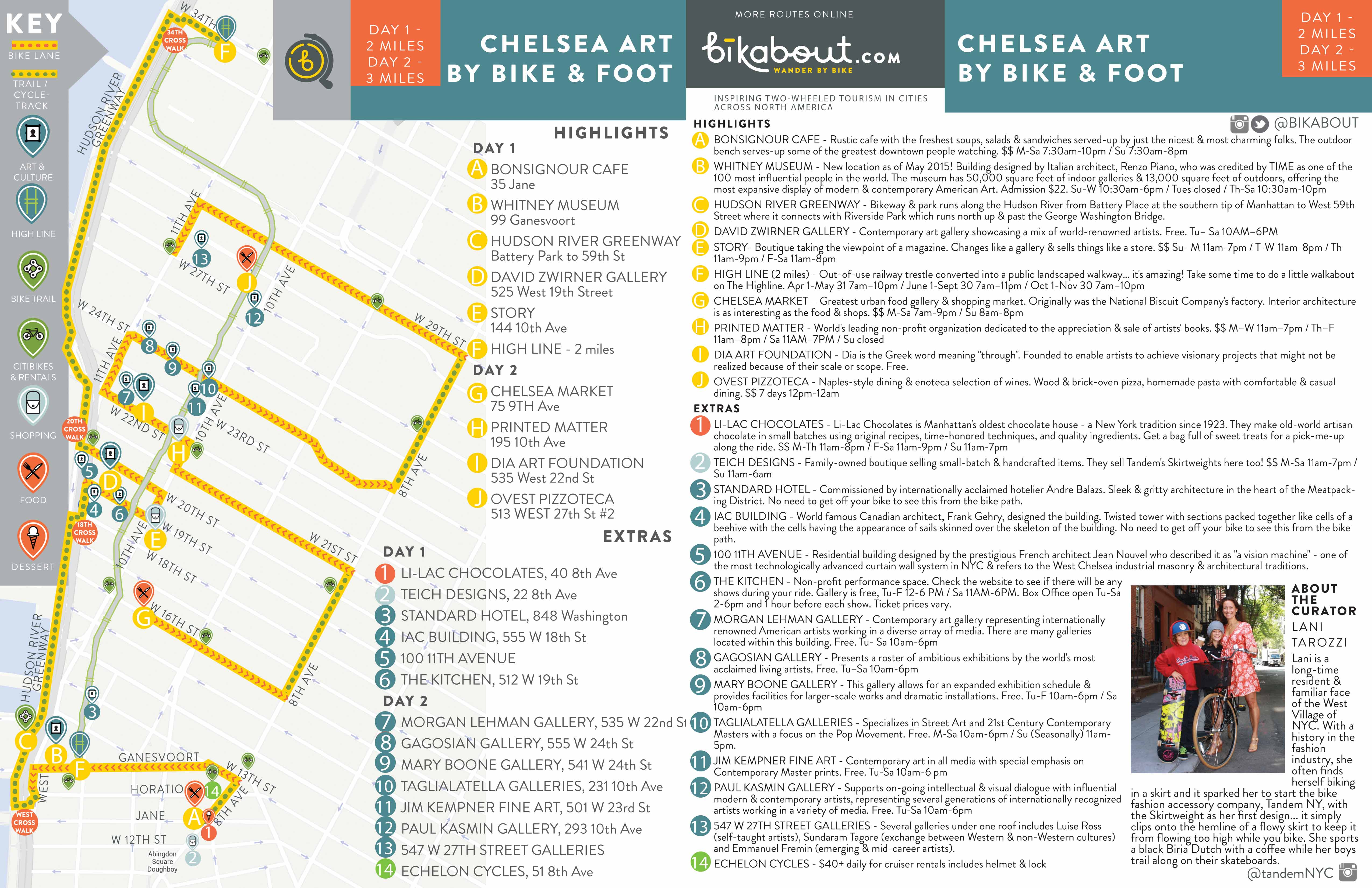 photo about Nyc Walking Map Printable called Chelsea Artwork by means of Motorbike and Foot bikabout