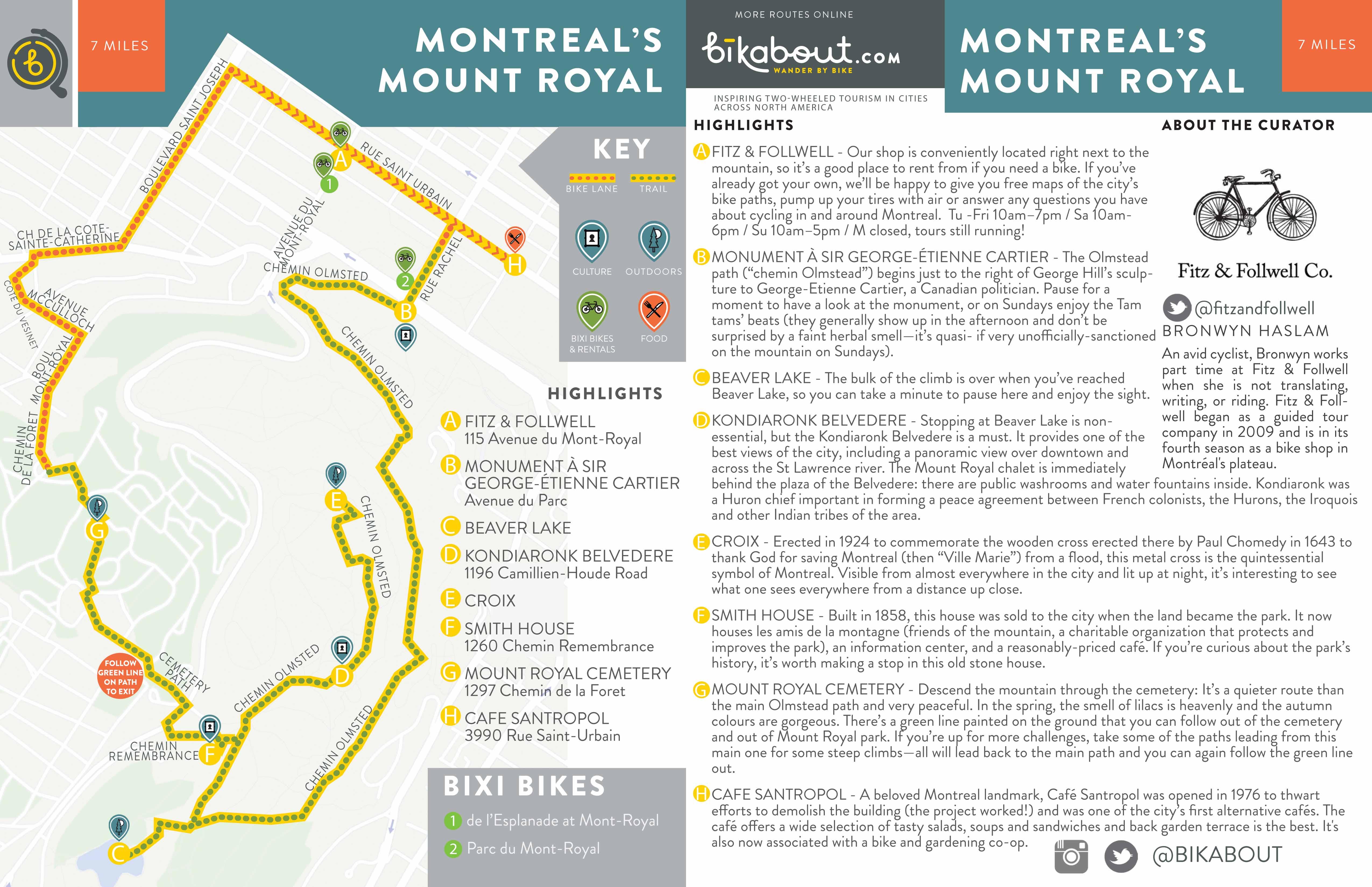 Mount Royal Map Montreal's Mount Royal — bikabout Mount Royal Map