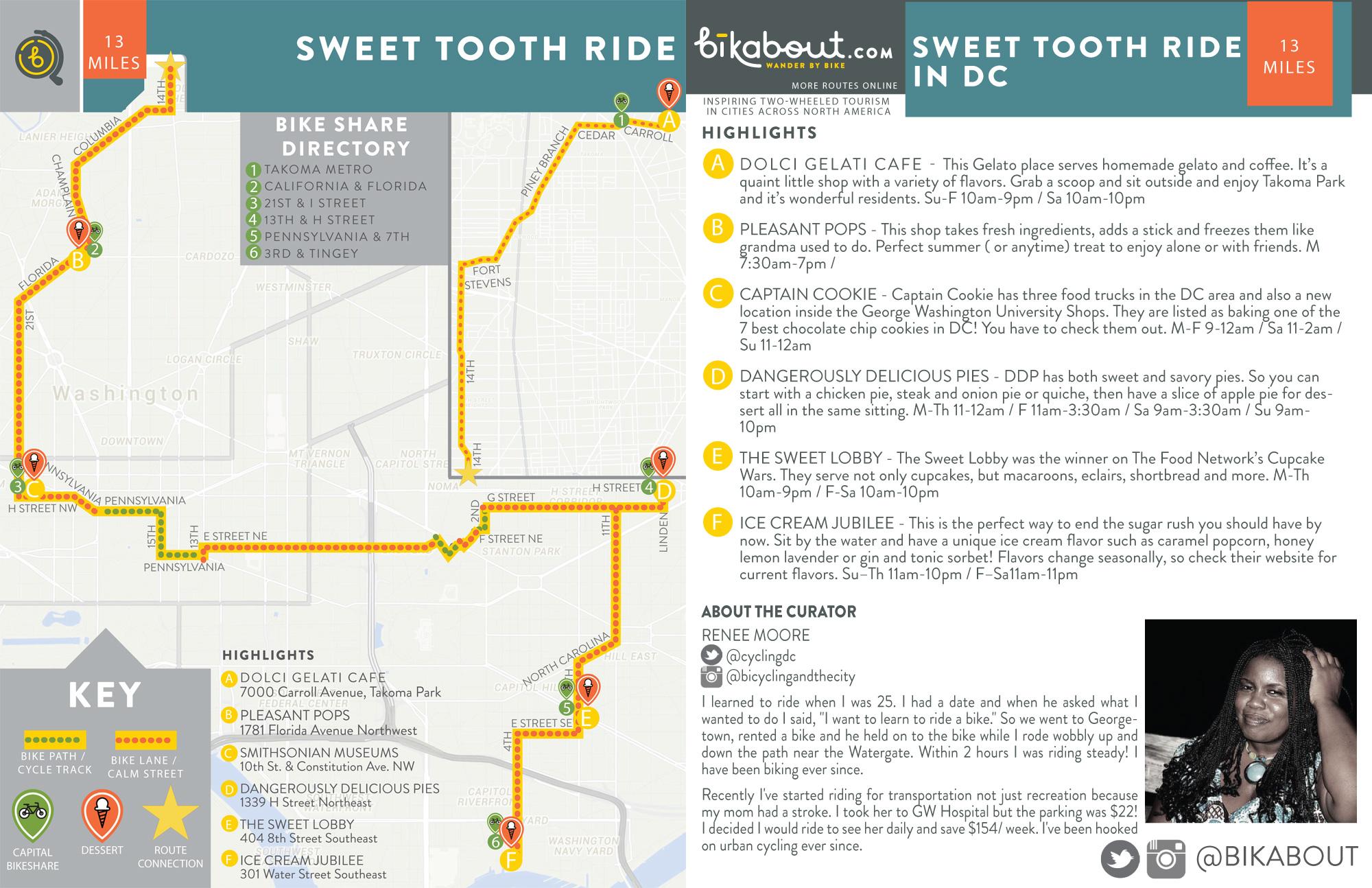 Sweet Tooth Ride  Bikabout - Washington dc bike lane map