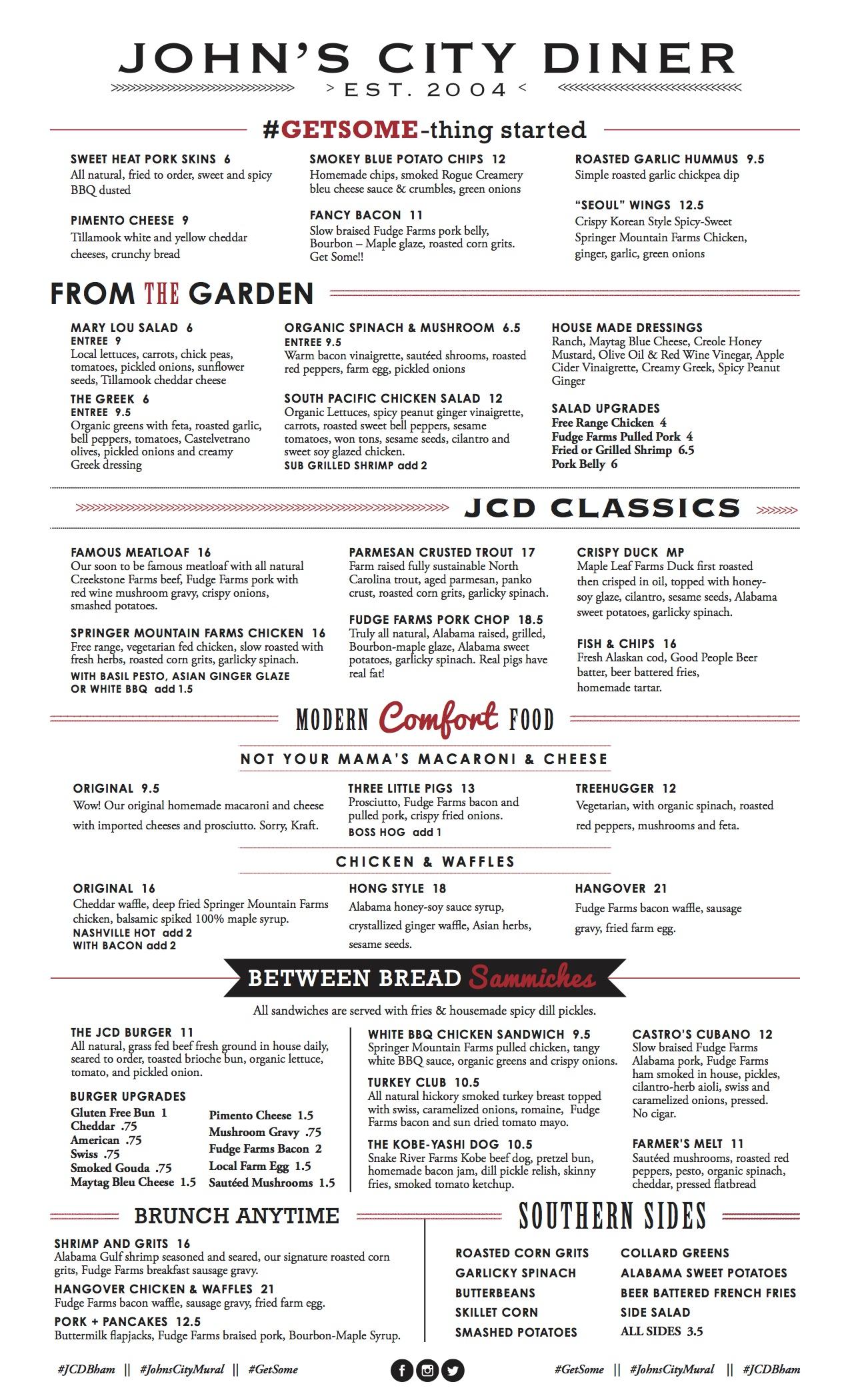 Menu John S City Diner