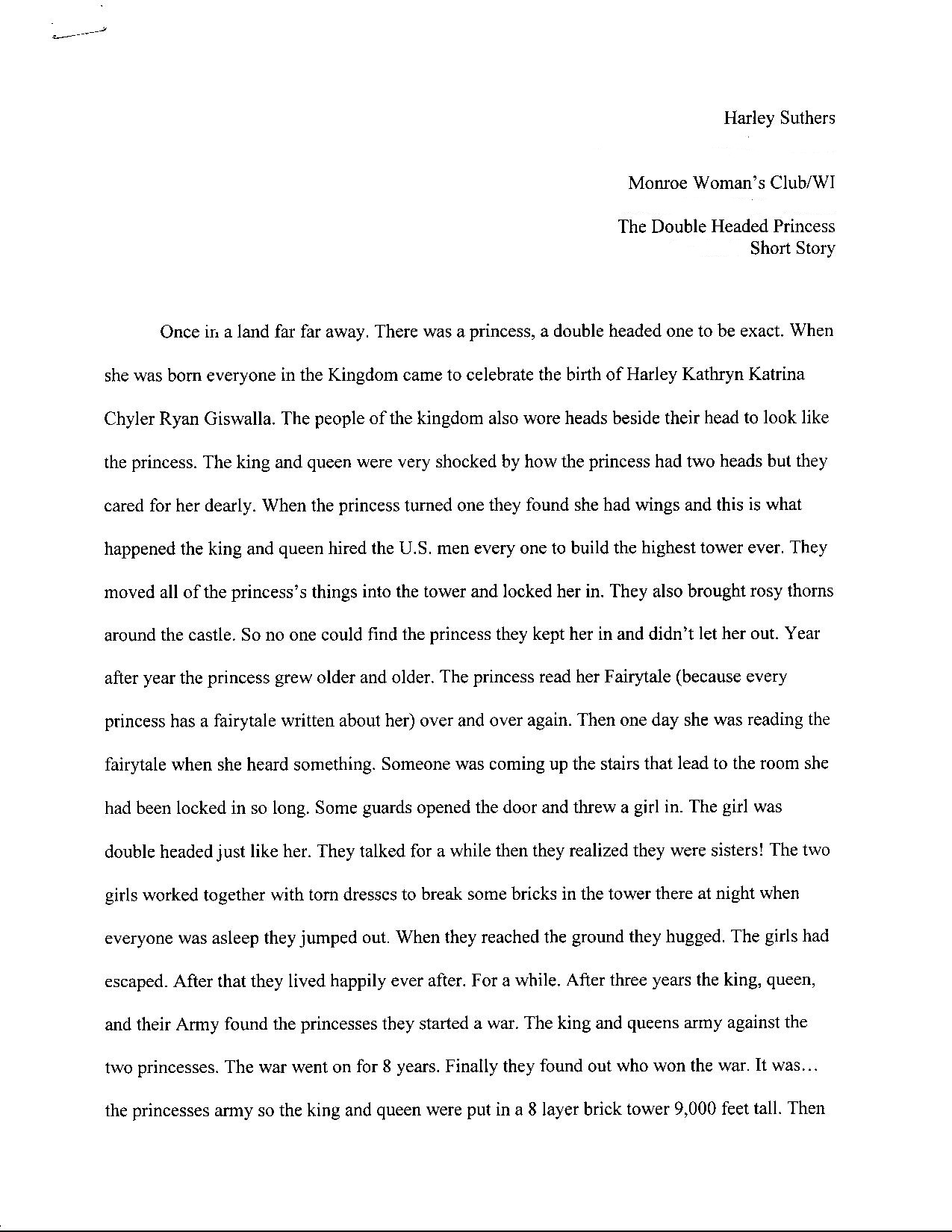 Youth short story and poetry gfwc wisconsin the double headed princess by harley suthers page 1 biocorpaavc Choice Image