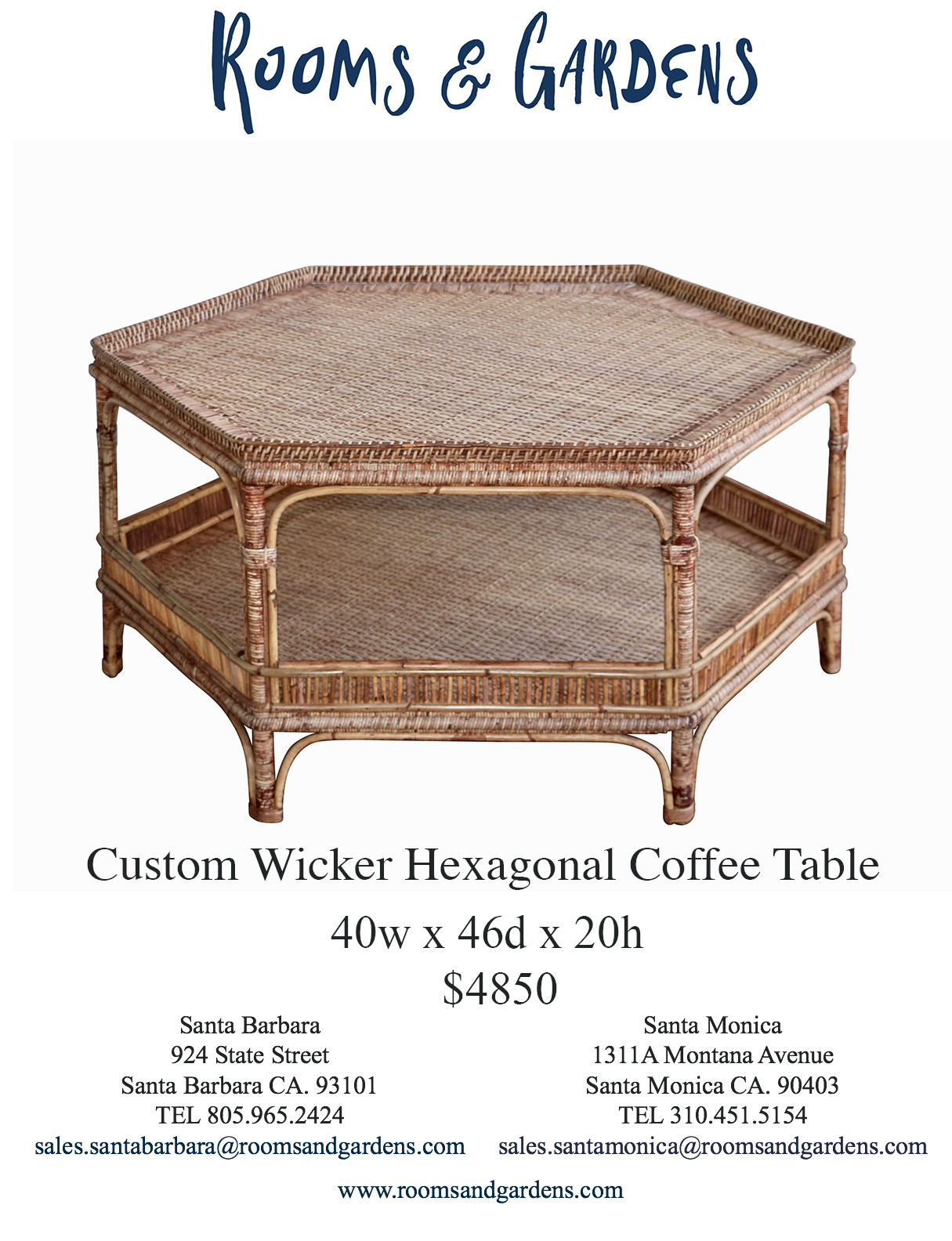 Custom Wicker Hexagonal Coffee Table