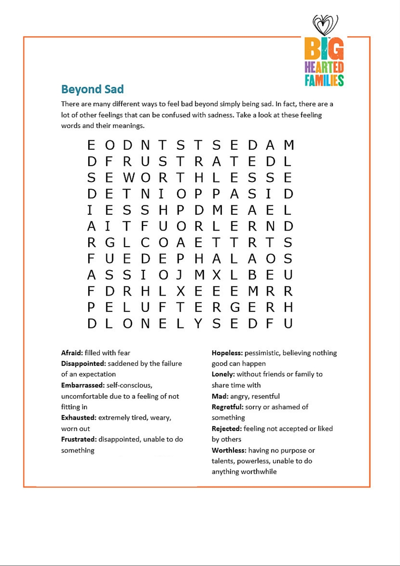 Feelings Word Search Doing Good Together