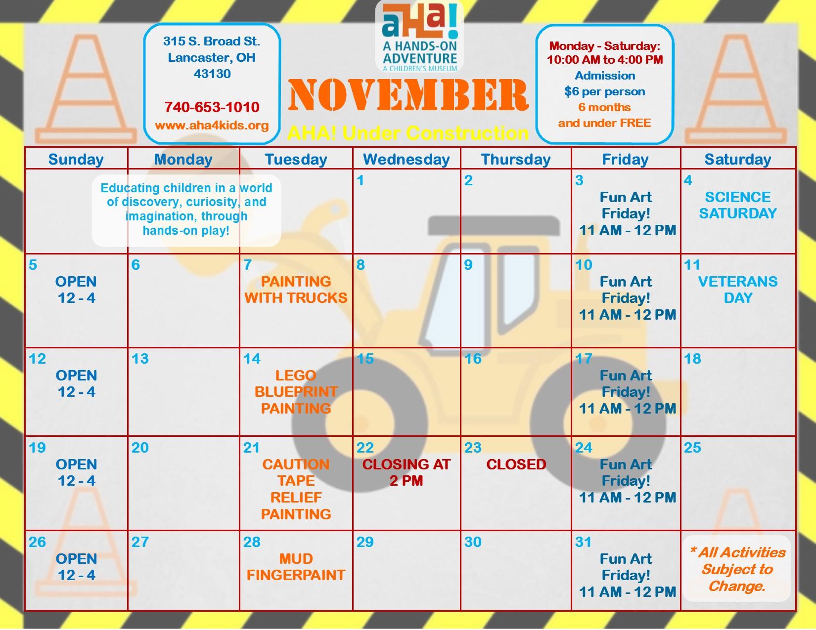 November Calendar Kids : Aha a hands on adventure