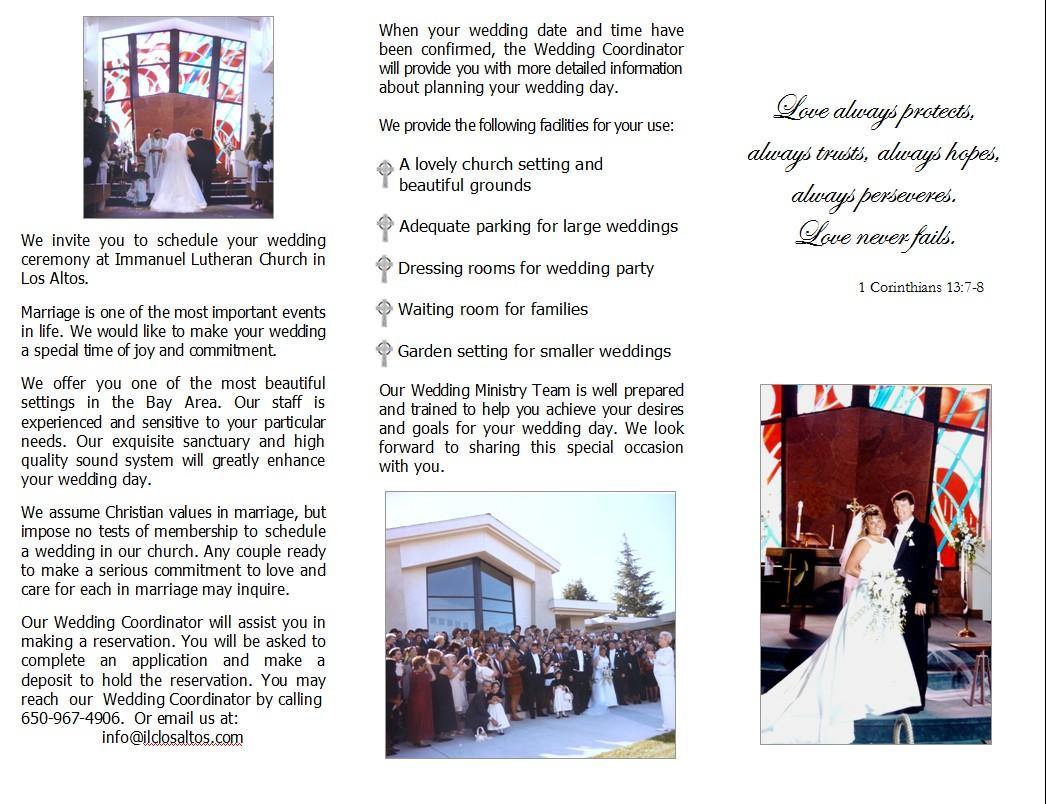 plan your wedding immanuel lutheran church