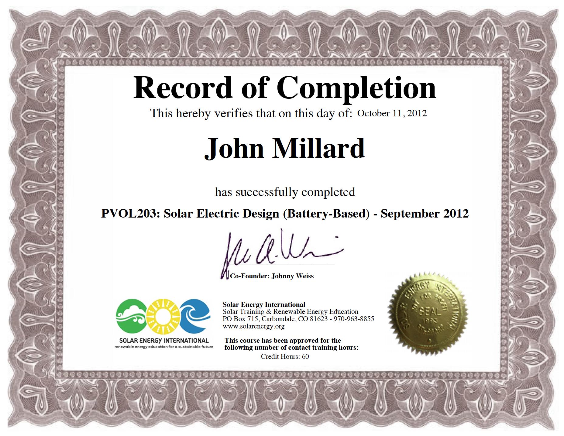 About john john berry millard csi member solar energy international xflitez Gallery