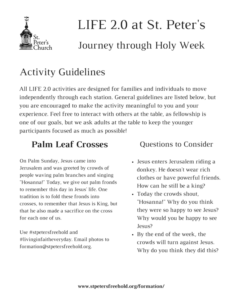 photograph relating to Holy Week Activities Printable identify Lifestyle Routines St. Peters Church