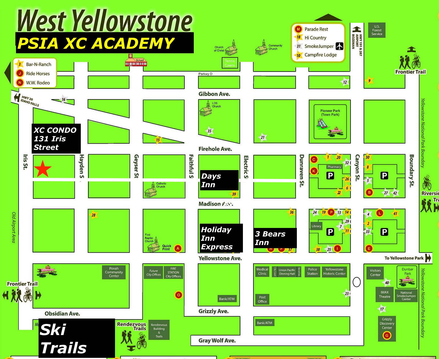 West Yellowstone Montana Map.Psia Xc Nordic Ski Academy