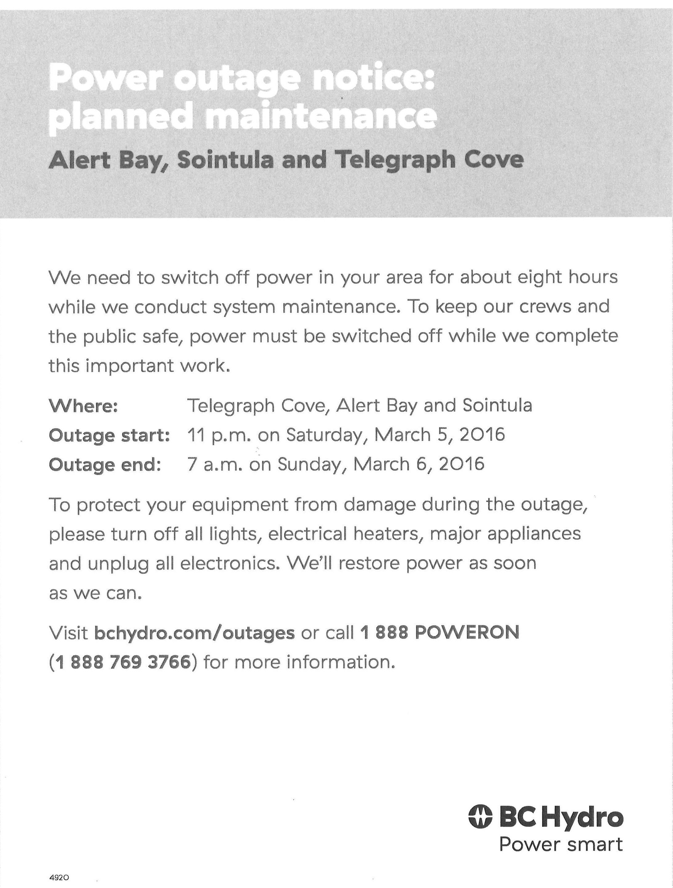 BC Hydro Power Outage Notice  Planned Maintenance — Village of Alert Bay