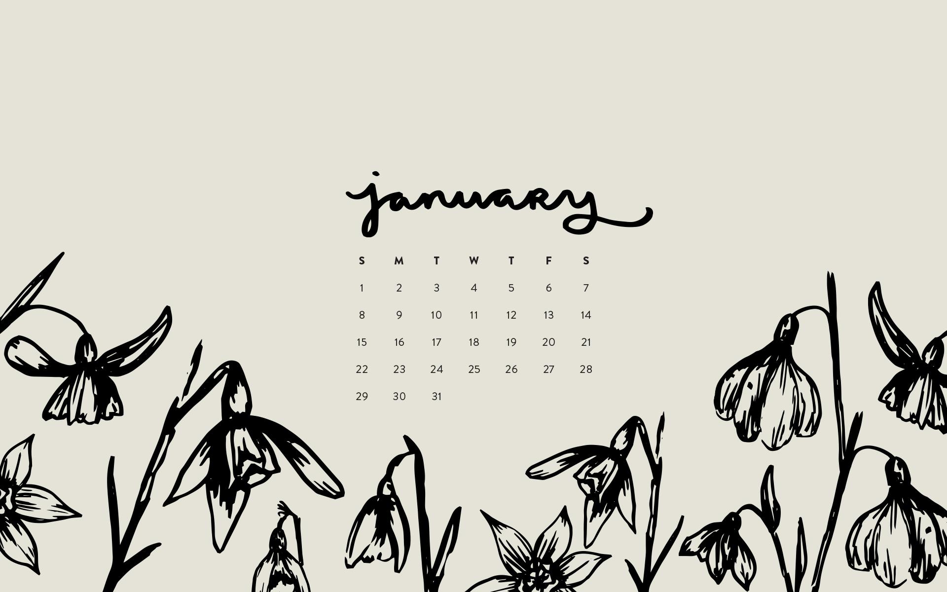 Wallpaper January 2017 Calendar Pattern Britt Fabello