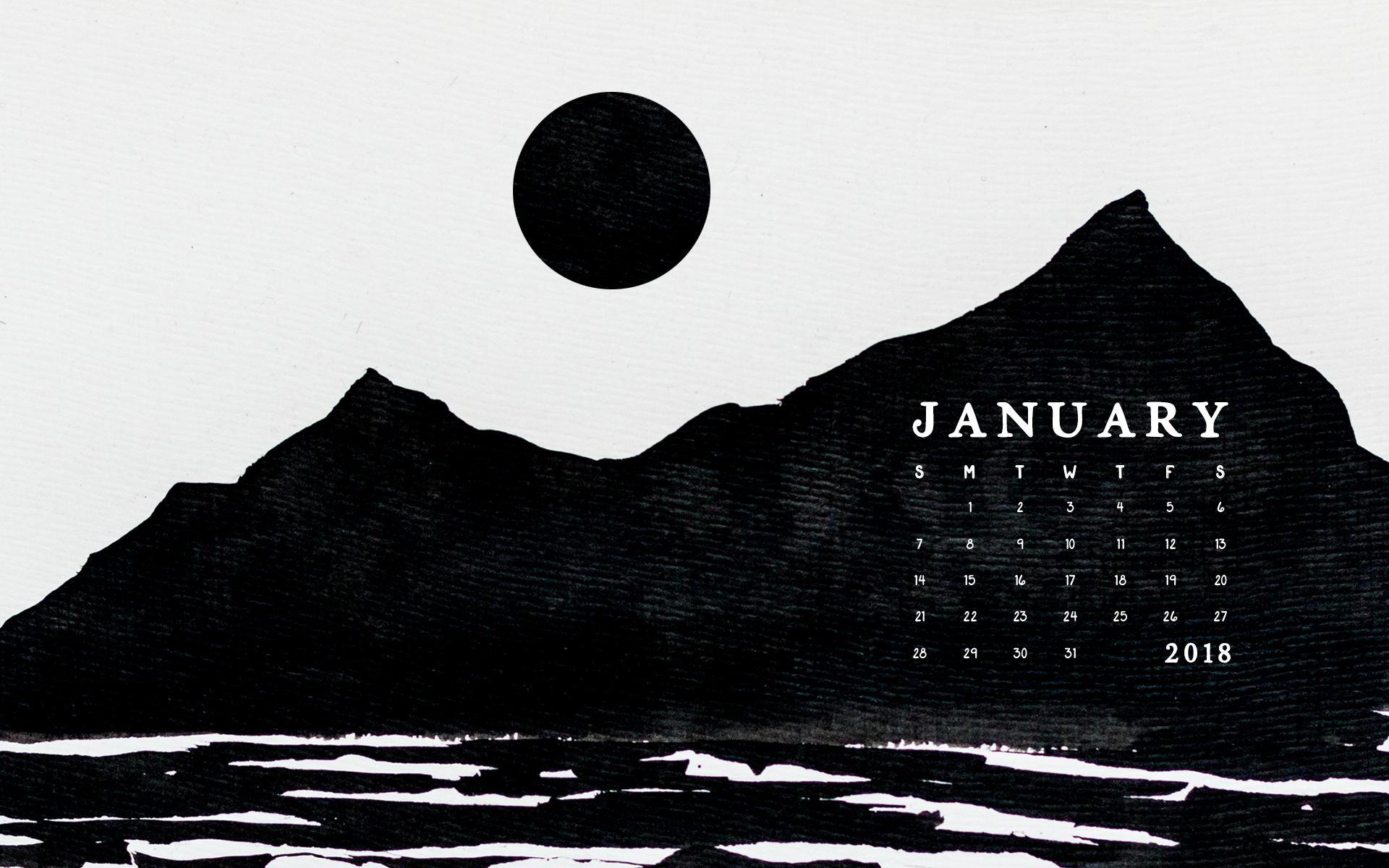 Desktop Calendar Wallpaper Creator : Wallpaper: january 2018 calendar & art u2014 britt fabello