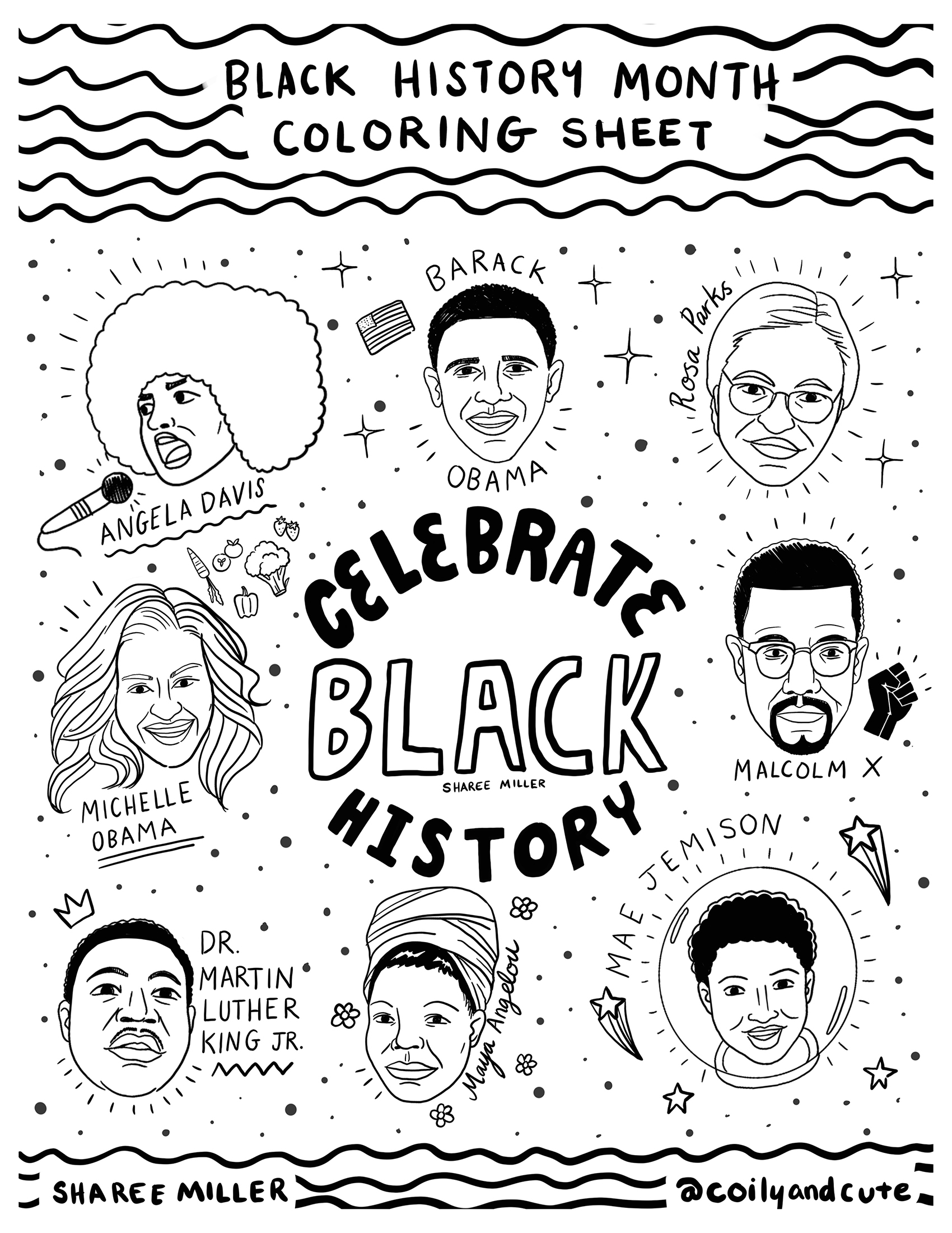 14 coloring pages of black history month - Print Color Craft | 2200x1700