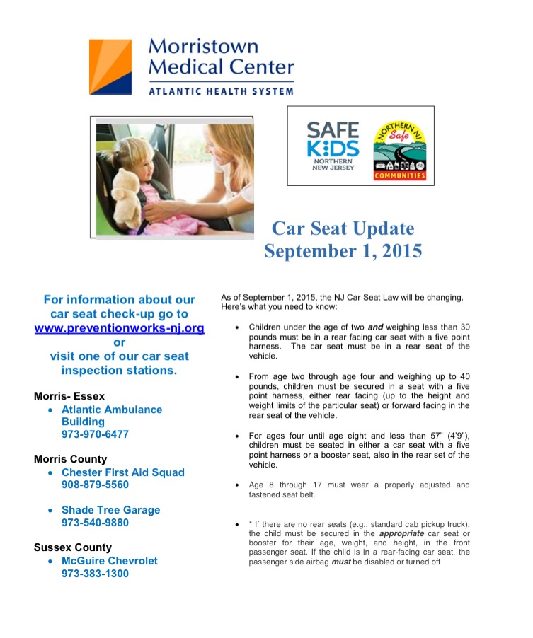 Child Car Seat Law Sept 2015