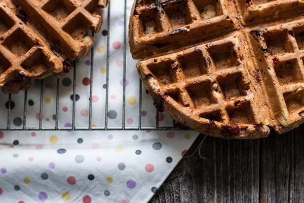 Cranberry Lemon Waffles with Cranberry Compote | edibleperspective.com
