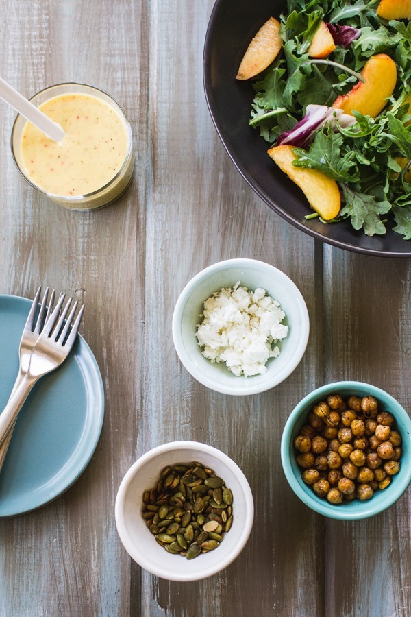 Peach + Roasted Chickpea Salad with Peach Lemon Dressing | edibleperspective.com