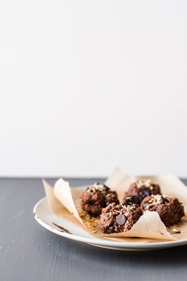 Double Chocolate Coconut Cookies (1-bowl, GF + vegan!) | edibleperspective.com