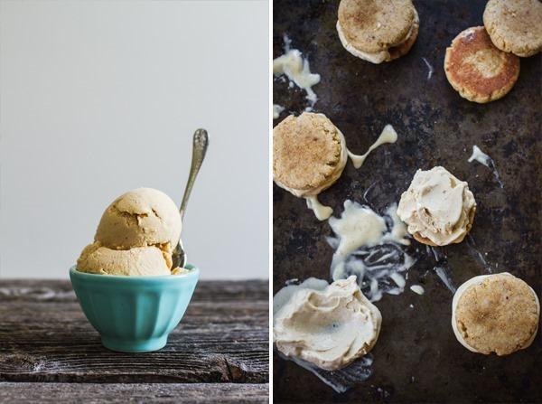 Peach Bourbon Ice Cream Sandwiches with Lemon Cornbread Cookies   edibleperspective.com #vegan #glutenfree