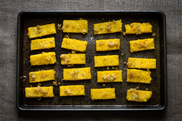 roasted garlic polenta dippers // edible perspective