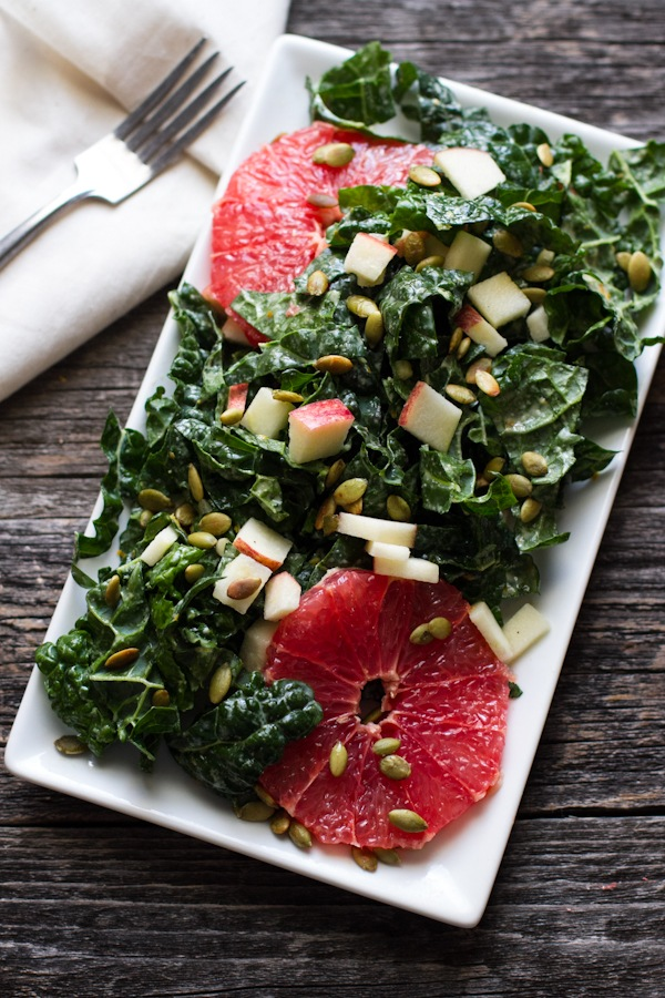 orange tahini dressing and kale citrus salad // edible perspective
