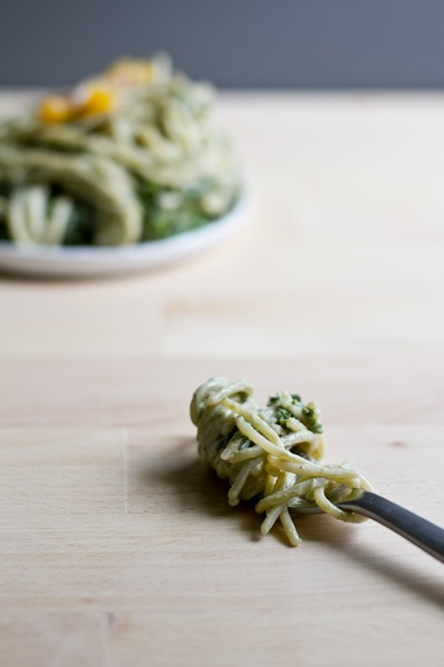 White Bean or Tofu Creamy Basil Pesto Sauce | Edible Perspective