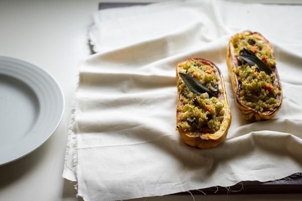 stuffed delicata squash with quinoa stuffing   edible perspective [v/gf]