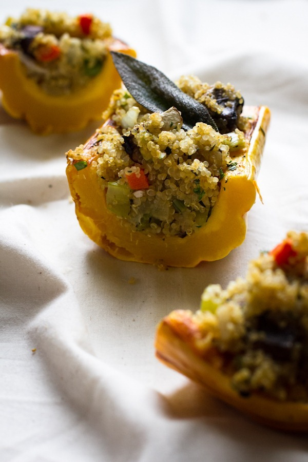 stuffed delicata squash with quinoa stuffing | edible perspective [v ...