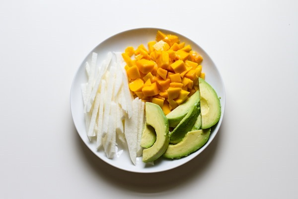 simple mango avocado salad with lime dressing // edible perspective