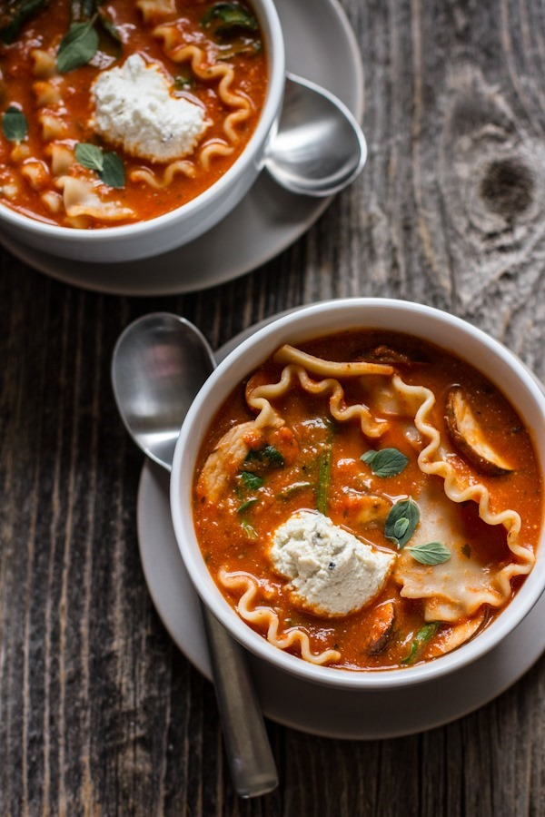 Vegetable Lasagna Soup [with easy vegan option] | edibleperspective.com #glutenfree #vegan