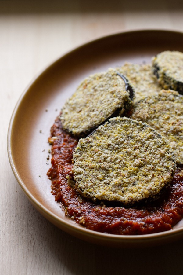 almond + cornmeal herb crusted eggplant | edible perspective