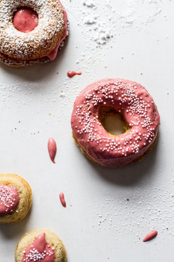 Breakfast Friday: Strawberry Lemon Curd Doughnuts | edibleperspective.com