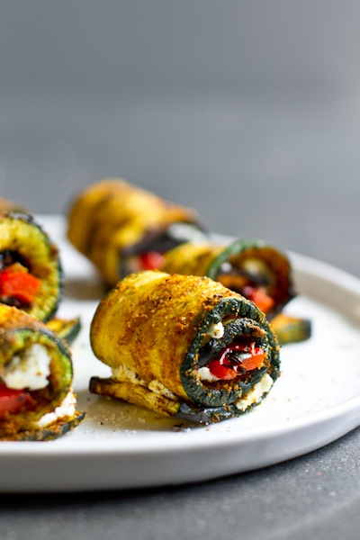 Curry grilled zucchini roll-ups from Edible Perspective // PumpUp Blog Favorites - best healthy recipes for summer BBQ season