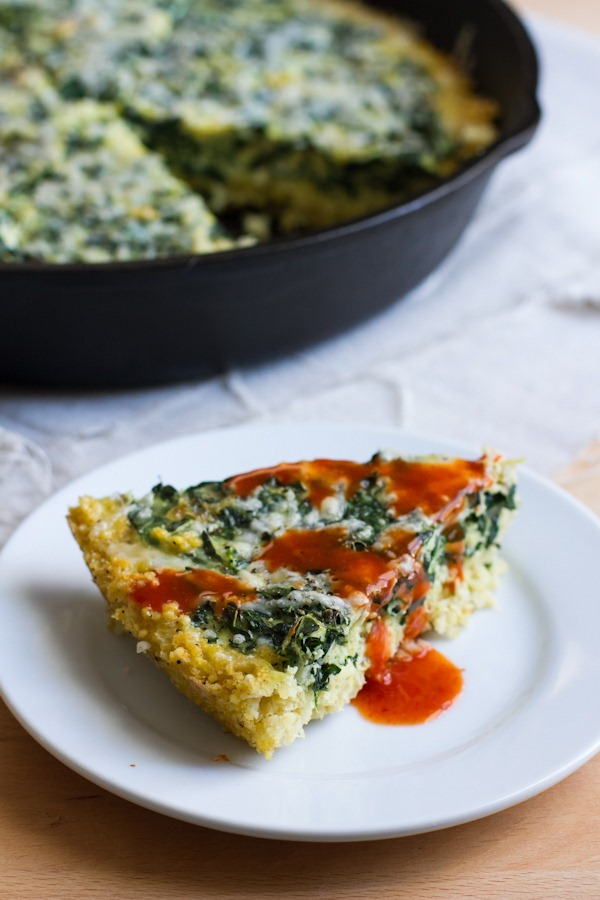 kale frittata with millet crust // edible perspective