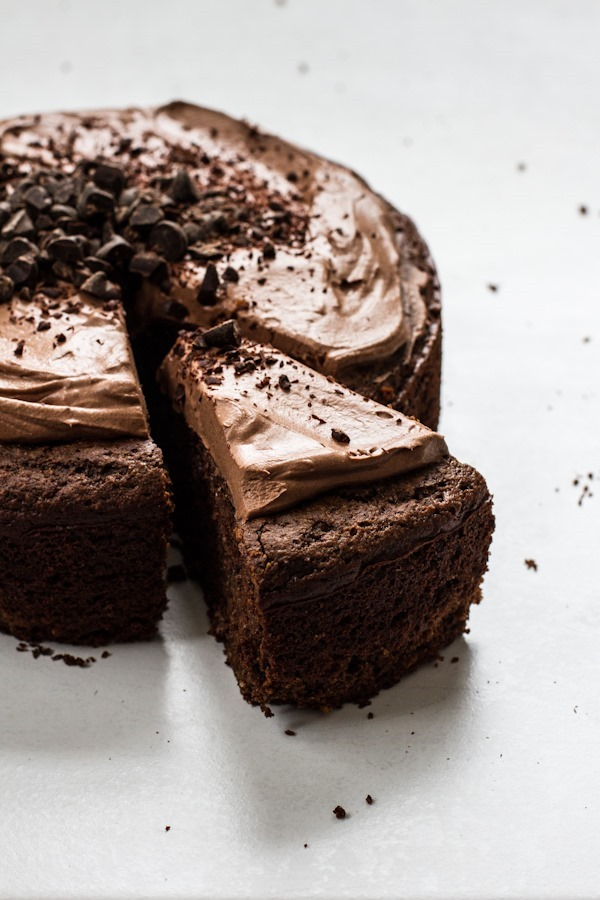 Chocolate Almond Meal Cake with Chocolate Whipped Frosting | edibleperspective.com