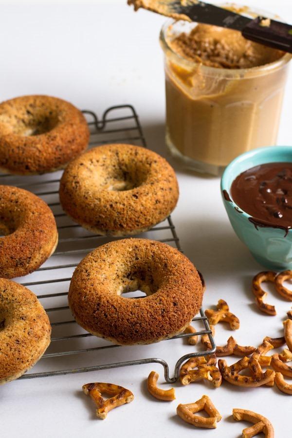 chocolate peanut butter pretzel doughnuts // edible perspective #glutenfree