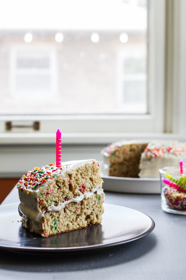 Funfetti Birthday Cake with Vanilla Bean Cashew Cream Frosting | edibleperspective.com