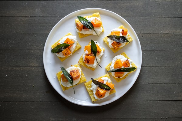 Polenta Crostini with Butternut Squash, Ricotta + Sage — Edible ...