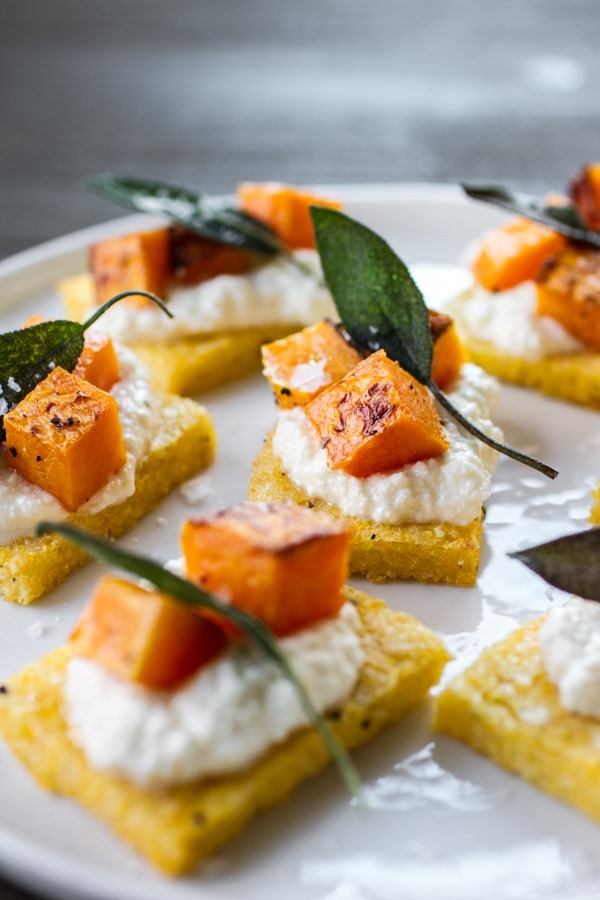 Polenta Crostini with Butternut Squash, Ricotta + Sage | edibleperspective.com #glutenfree #thanksgiving