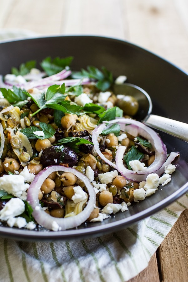 Lentil Chickpea Salad with Roasted Garlic Dressing | edibleperspective.com