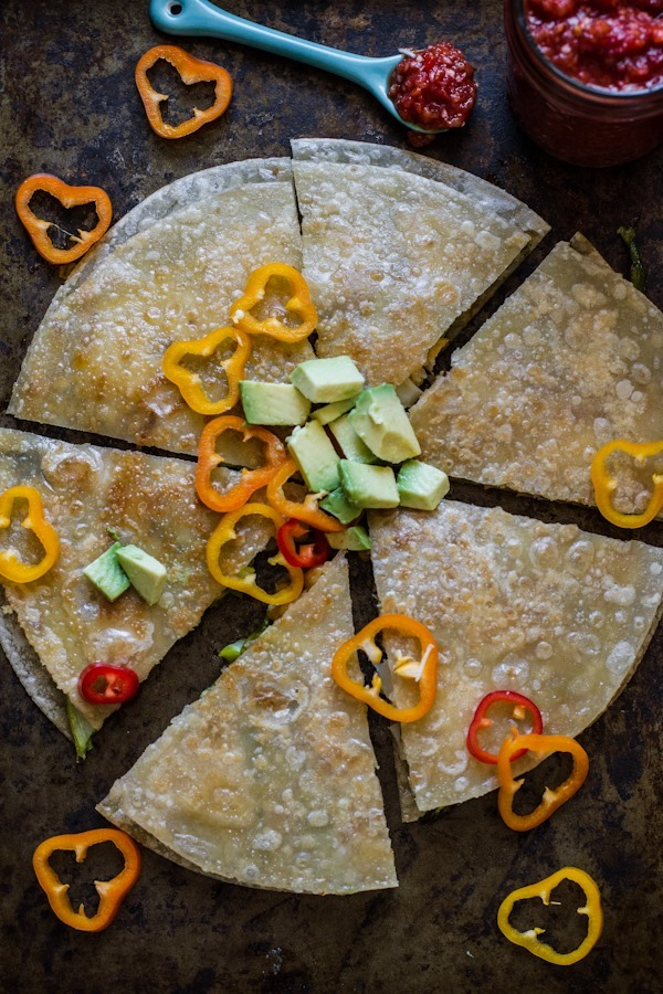 Spring Vegetable Quesadillas with Quick Smoky Salsa | edibleperspective.com