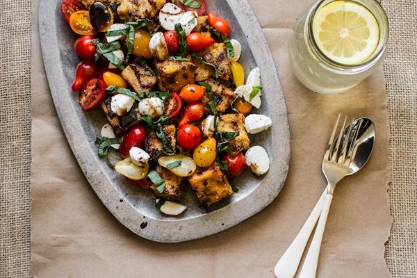 Grilled Polenta + Caprese Salad | edibleperspective.com