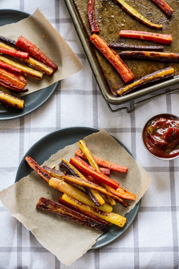 Roasted Carrot Fries with Garlic Basil Ketchup | edibleperspective.com