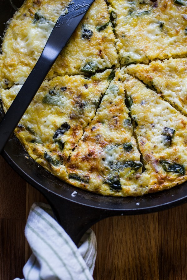 Grilled Poblano + Corn Frittata | edibleperspective.com