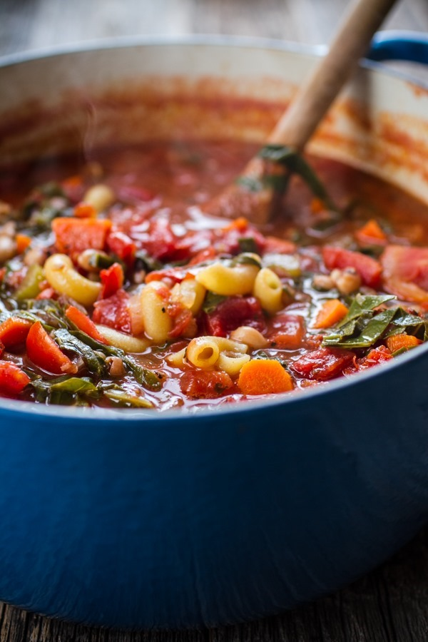 Minestrone Soup with Collard Greens + Black Eyed Peas | edibleperspective.com