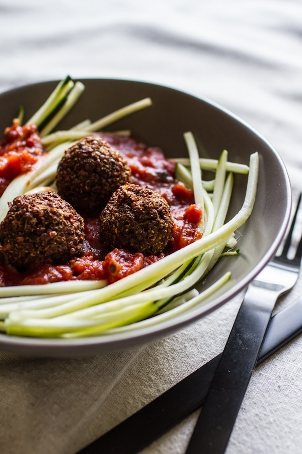 Zucchini Pasta with Quinoa Meatless Balls from the Choosing Raw cookbook | edibleperspective.com #vegan