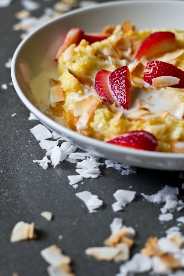 10 recipes for spring - coconut cream strawberry polenta // edible perspective